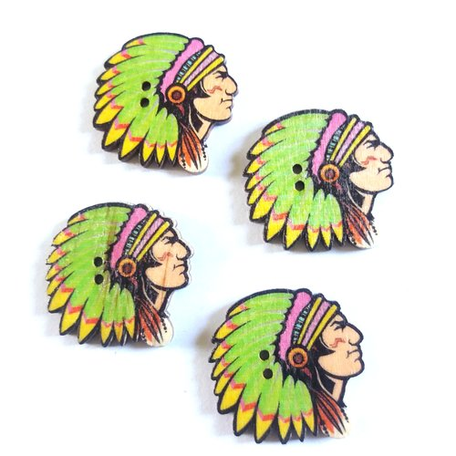 4 boutons fantaisie en bois indien vert et jaune - 30mm - f1