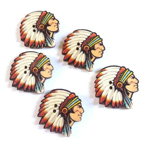 5 boutons fantaisie en bois indien blanc et rouge - 30mm - f1