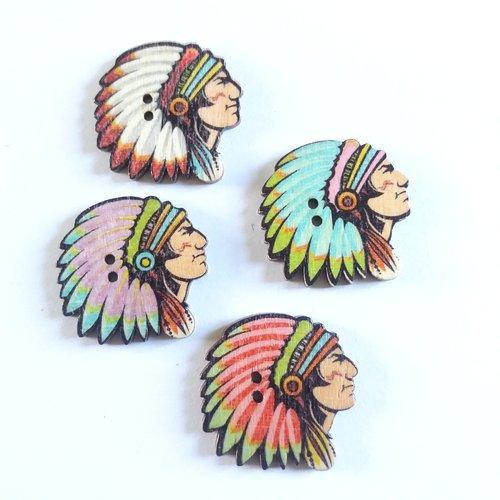 4 boutons fantaisie en bois indien multicolore - 30mm - f1