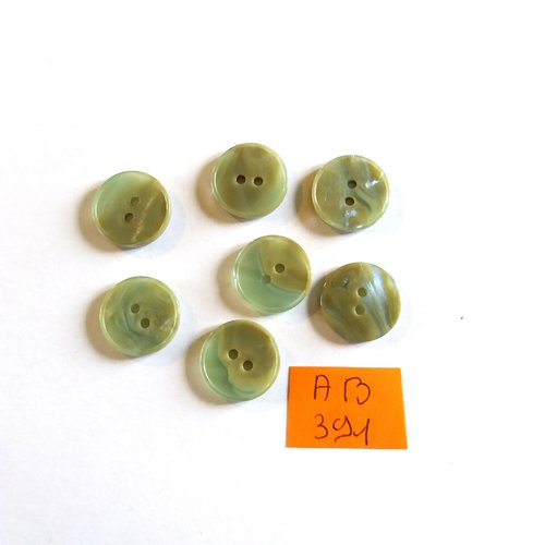 7 boutons en résine vert à reflet bleu - 15mm - ab391
