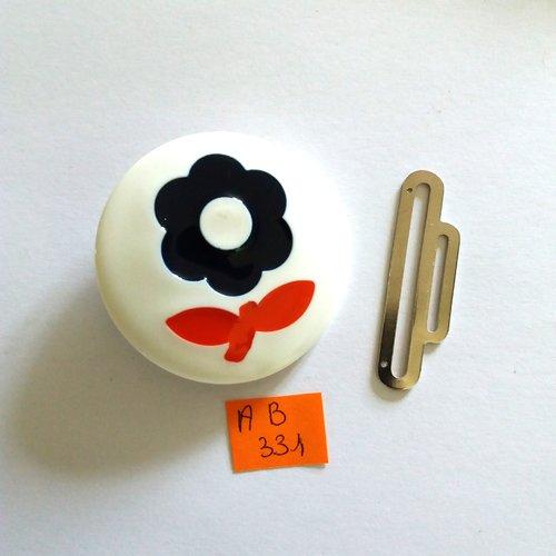 1 boucle de ceinture en résine blanc bleu rouge et métal argenté - fleur - vintage - 50mm - ab331