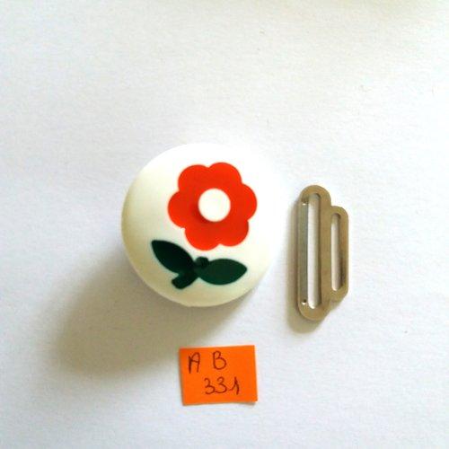 1 boucle de ceinture en résine blanc vert rouge et métal argenté - fleur - vintage - 30mm - ab331