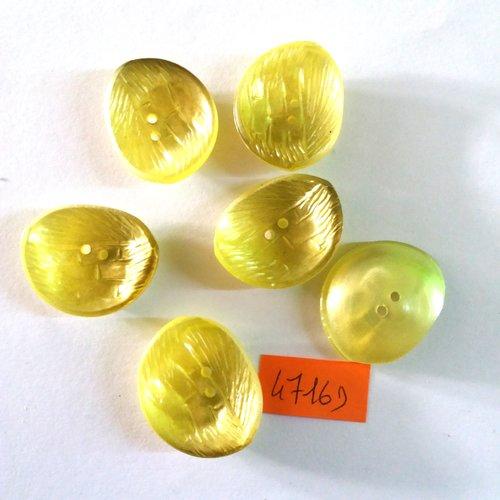 6 boutons en résine jaune/vert - vintage - 24x28mm - 4716d