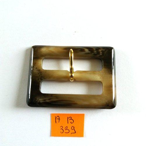 1 boucle de ceinture en résine marron et beige - 57x41mm - ab339