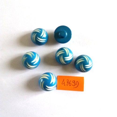 6 boutons en résine bleu et blanc - vintage - 16mm - 4769d