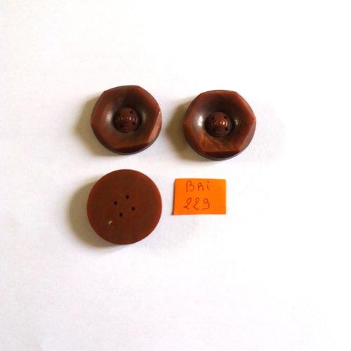 3 boutons en résine marron - ancien - 26mm - bri229