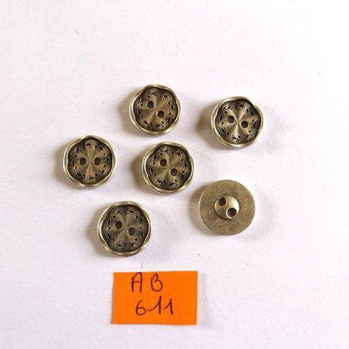 6 boutons en métal argenté - 15mm - ab611