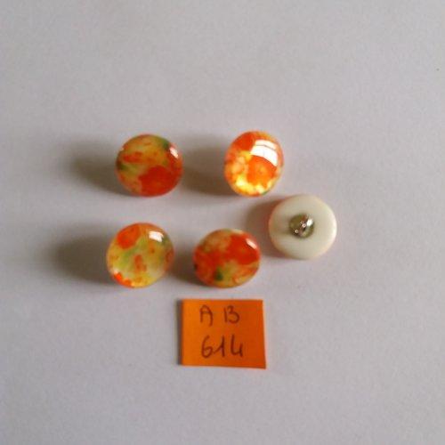 5 boutons en résine jaune et orange - 15mm - ab614