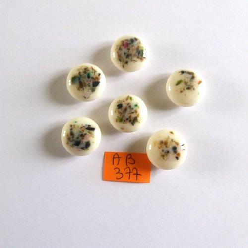 6 boutons en résine blanc et multicolore - 15mm - ab377