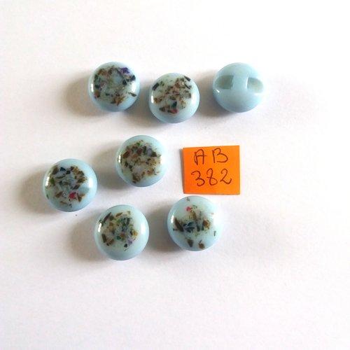 6 boutons en résine bleu et multicolore - 15mm - ab382