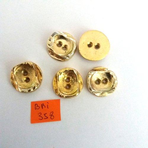 5 boutons en métal doré - ancien - 20mm - bri358