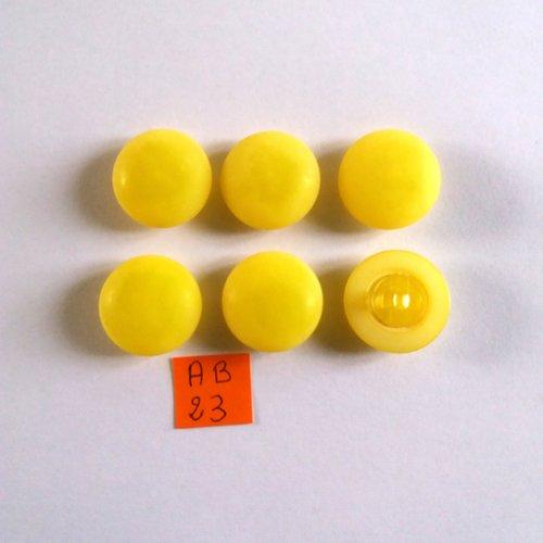 6 boutons en résine jaune - 22mm - ab23