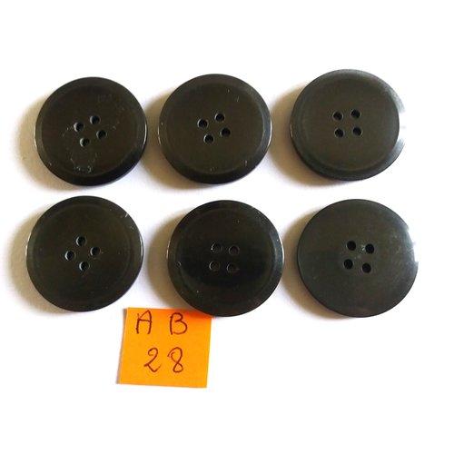 6 boutons en résine gris foncé - 25mm - ab28