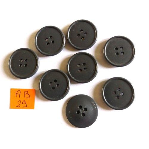 7 boutons en résine gris foncé - 22mm - ab29