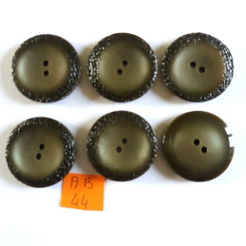 6 boutons en résine gris/marron - 30mm - ab44