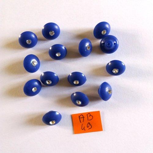 7 boutons en résine bleu et strass - 12mm - ab49