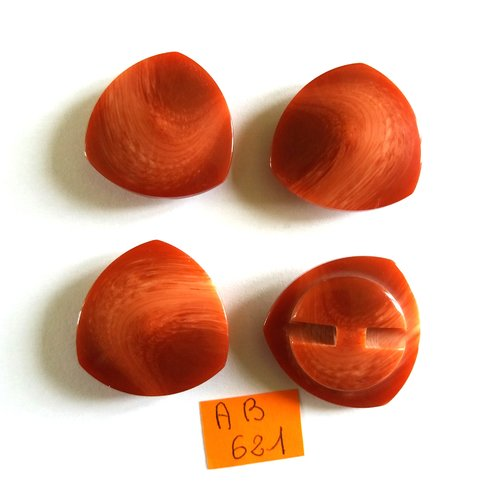 4 boutons en résine marron - 31mm - ab621