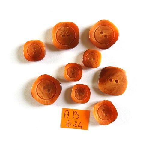 9 boutons en résine marron - 20x20mm -16x16mm - 14x14mm - ab624