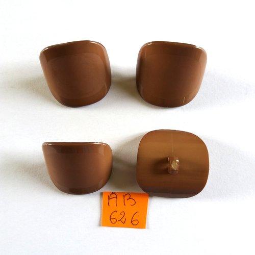 4 boutons en résine marron - 28x28mm - ab626