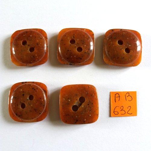 5 boutons en résine marron - 23x23mm - ab632
