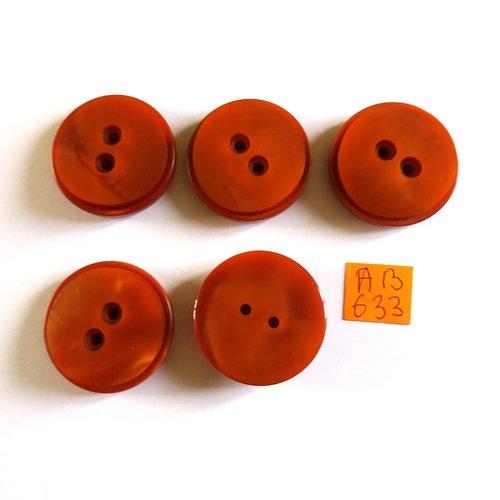 5 boutons en résine marron - 30mm - ab633