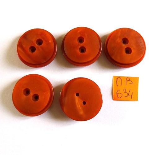 5 boutons en résine marron - 26mm - ab634