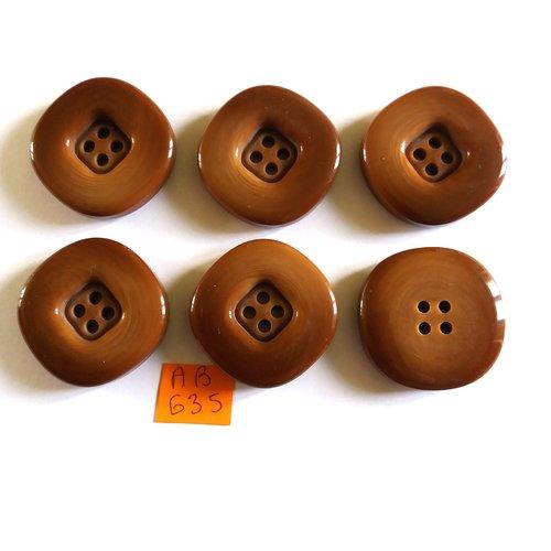 6 boutons en résine marron - 33mm - ab635