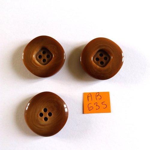 3 boutons en résine marron - 26mm - ab635
