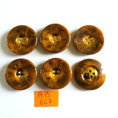 6 boutons en résine marron et doré - 28mm - ab647