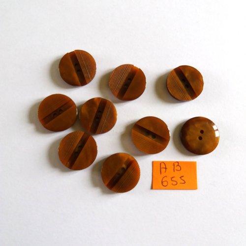 9 boutons en résine marron - 18mm - ab655