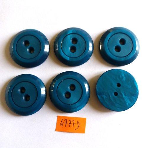 6 boutons en résine bleu - vintage - 30mm - 4777d