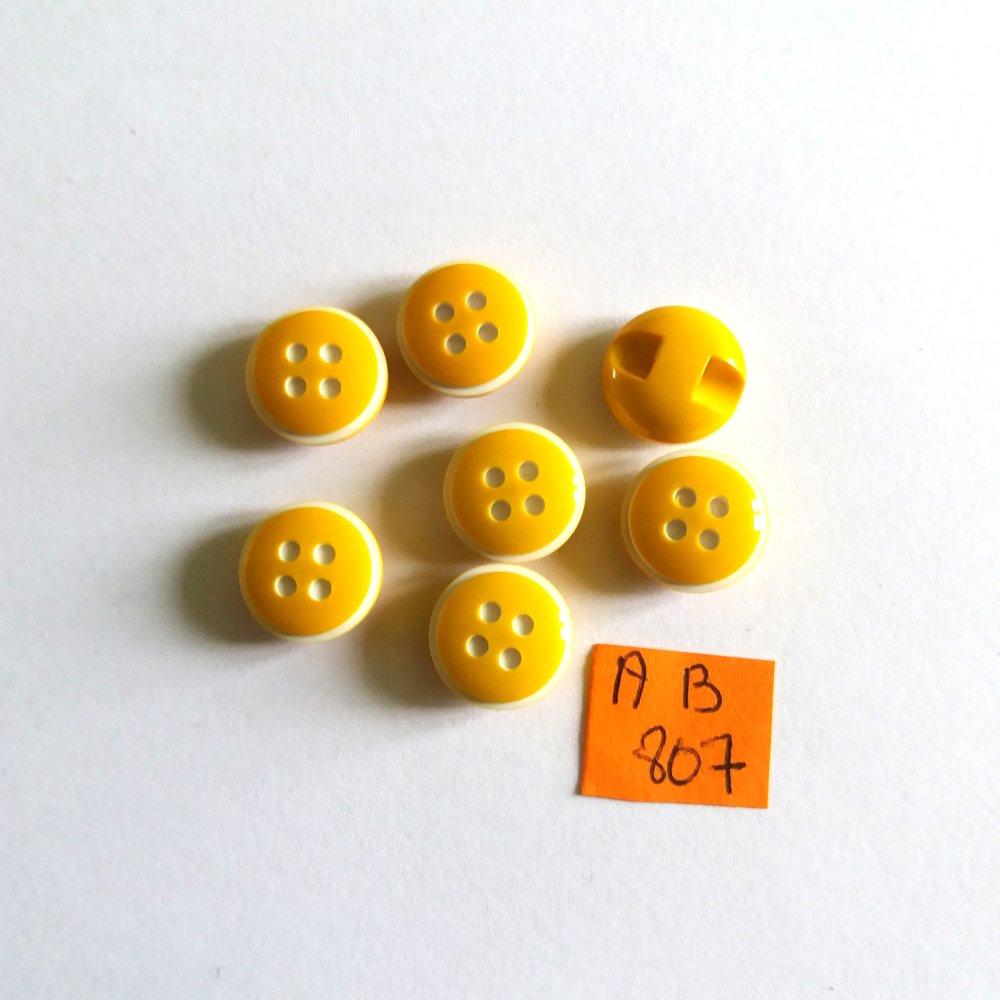 7 boutons en résine jaune et blanc - 13mm - AB807