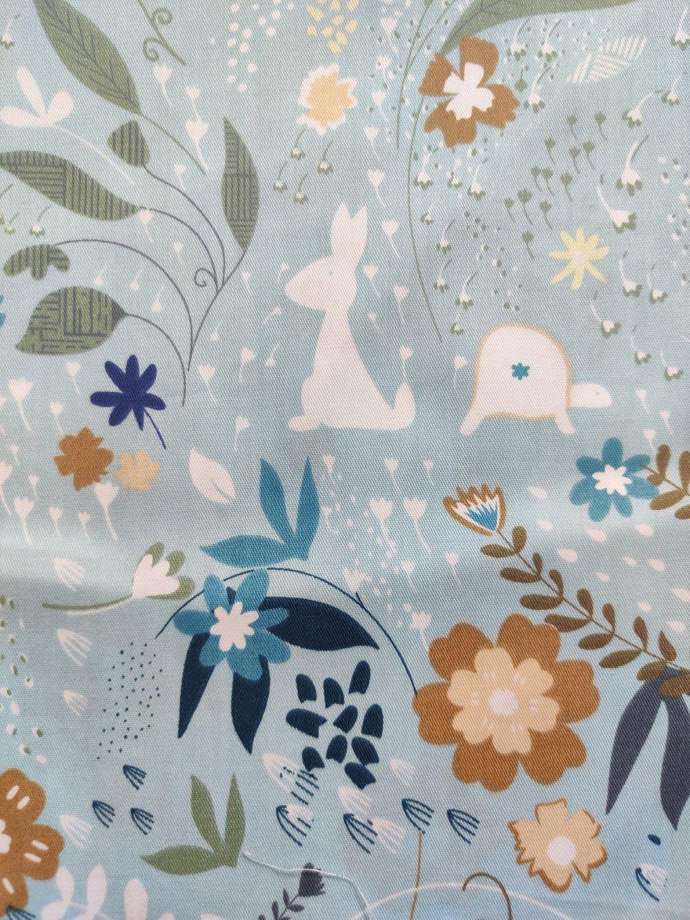 Coupon tissu - lapin champetre / shabby chic bleu - coton - 40x50cm