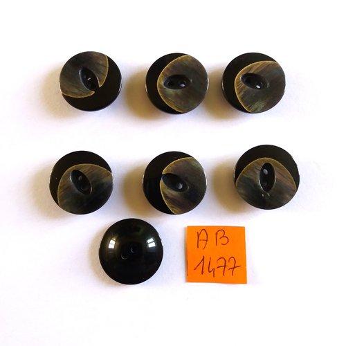 7 boutons en résine noir/gris - 18mm - ab1477
