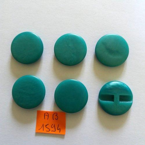 6 boutons en résine vert - 23mm - ab1594