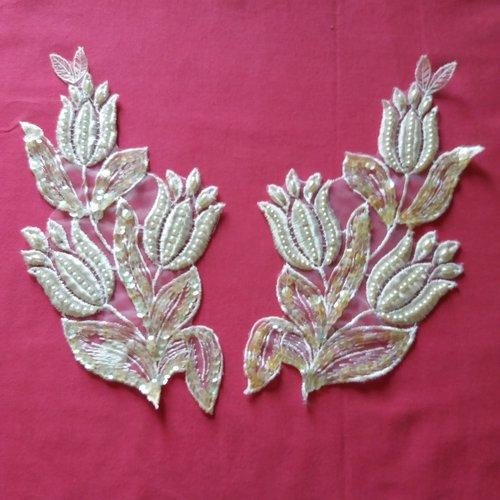 2 appliques à coudre en tissu + perle + sequin - blanc et ivoire - 20x11cm -  ab1461