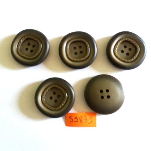 5 boutons en résine gris/vert - vintage - 31mm - 5987d
