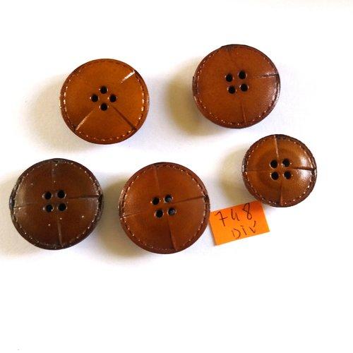 28mm 5 boutons en cuir bleu marine vintage 3259D