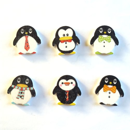 6 boutons fantaisies en bois - manchots- noir et blanc - 24x25mm - f5 n°1