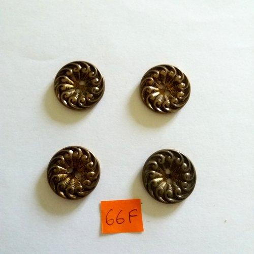 4 boutons en métal doré - 23mm - 66f