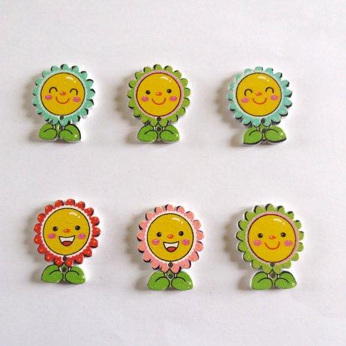 6 boutons fantaisies en bois - fleur - multicolore - 24x30mm - f10 n°2
