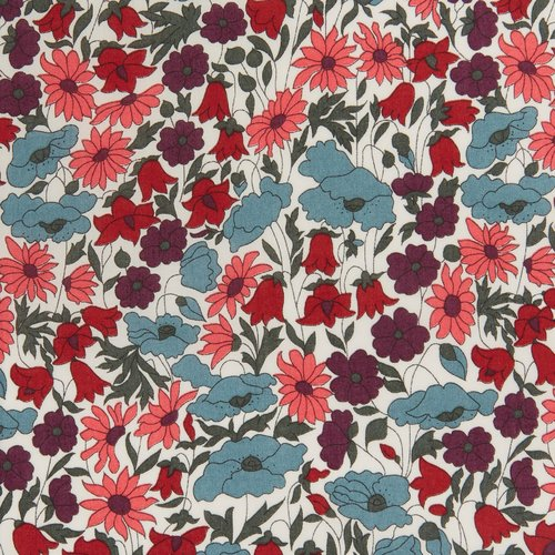 Tissu liberty of london - poppy daisy - fleur bleu / rose / violet - coton - 10cm / laize