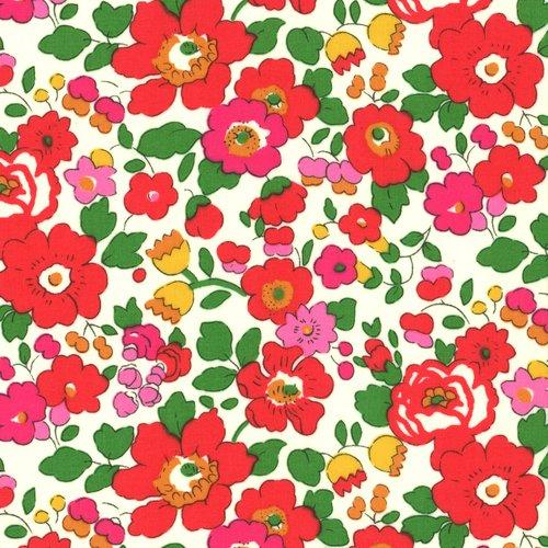 Tissu liberty of london - betsy - fleur rouge - coton - 10cm / laize