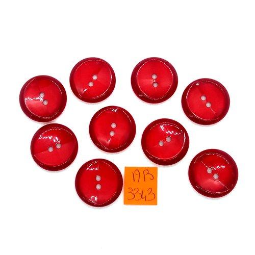 9 boutons en résine rouge - 21mm - ab3343