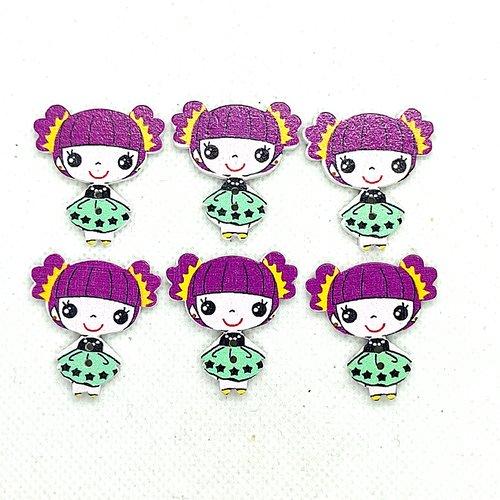 6 boutons en bois fantaisie - petite fille - 27x48mm - bri638