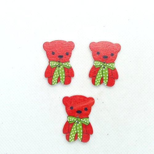 3 boutons en bois fantaisie - des ours - 32x21mm - bri616