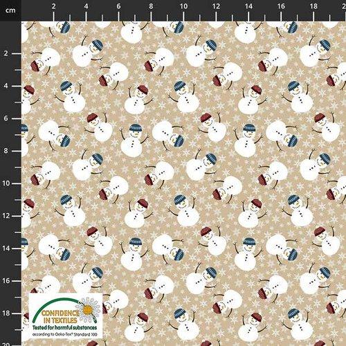 Tissu de noel - bonhomme de neige rose - stof fabrics - coton - 10cm/laize