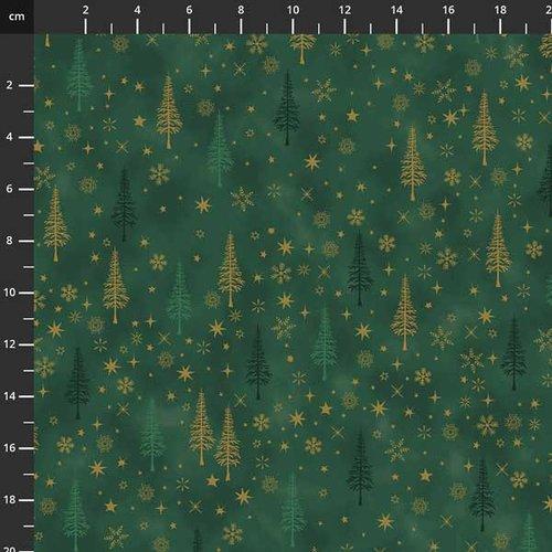Tissu de noel - sapin et étoiles vert / doré - stof fabrics - coton - 10cm/laize
