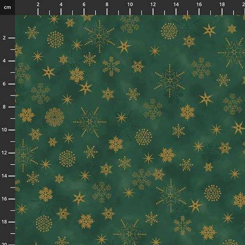 Tissu de noel - étoiles vert / doré - stof fabrics - coton - 10cm/laize