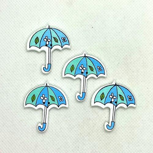4 boutons en bois fantaisie - parapluie - 34x31mm - bri629